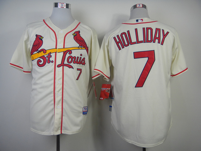 Men St. Louis Cardinals 7 Holliday Cream MLB Jerseys