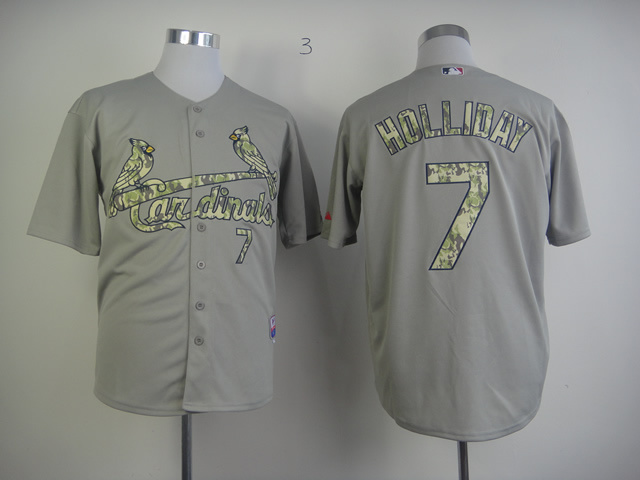 Men St. Louis Cardinals 7 Holliday Grey Camo MLB Jerseys