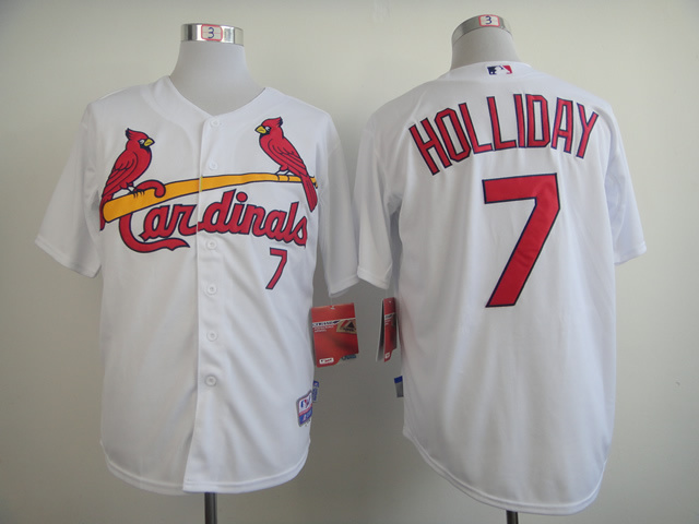 Men St. Louis Cardinals 7 Holliday White MLB Jerseys