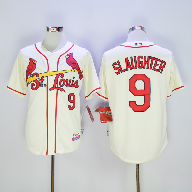 Men St. Louis Cardinals 9 Slaughter Cream Throwback MLB Jerseys
