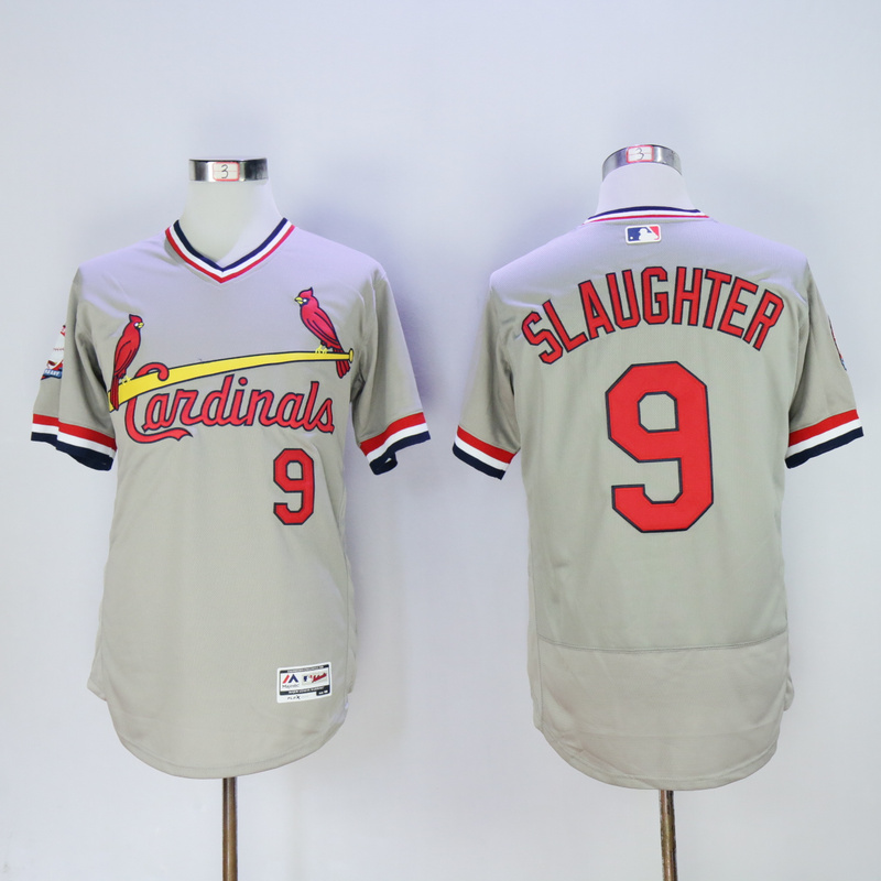 Men St. Louis Cardinals 9 Slaughter Grey Throwback Elite MLB Jerseys