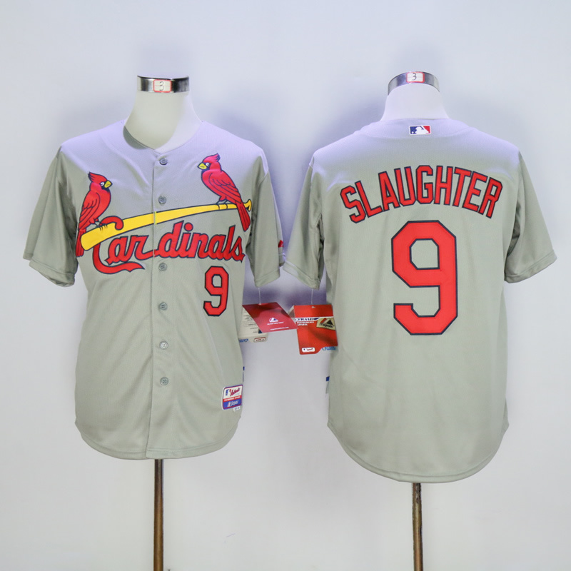 Men St. Louis Cardinals 9 Slaughter Grey Throwback MLB Jerseys