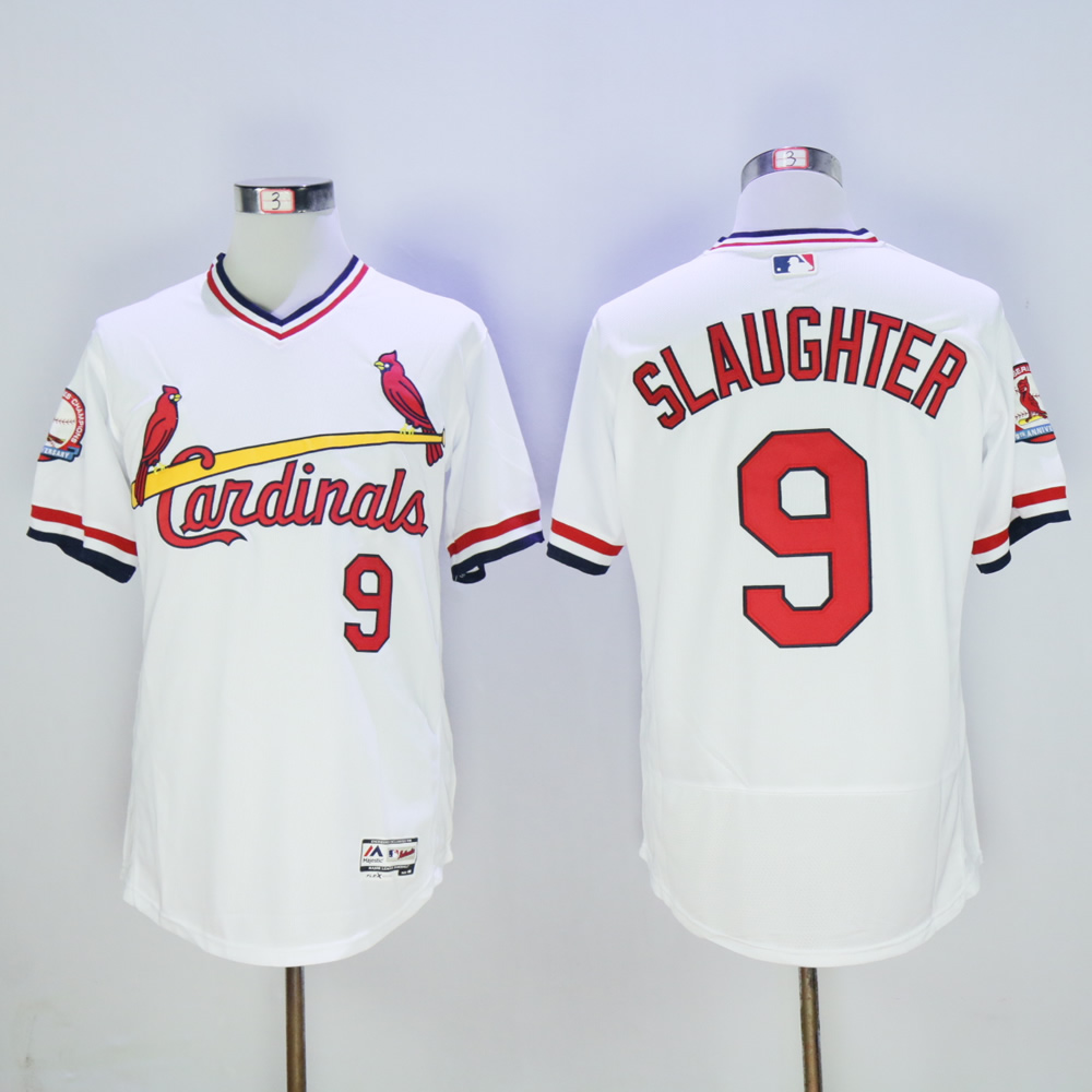 Men St. Louis Cardinals 9 Slaughter White Throwback Elite MLB Jerseys