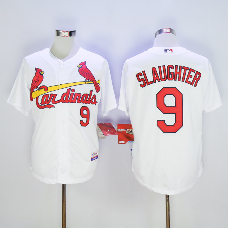 Men St. Louis Cardinals 9 Slaughter White Throwback MLB Jerseys