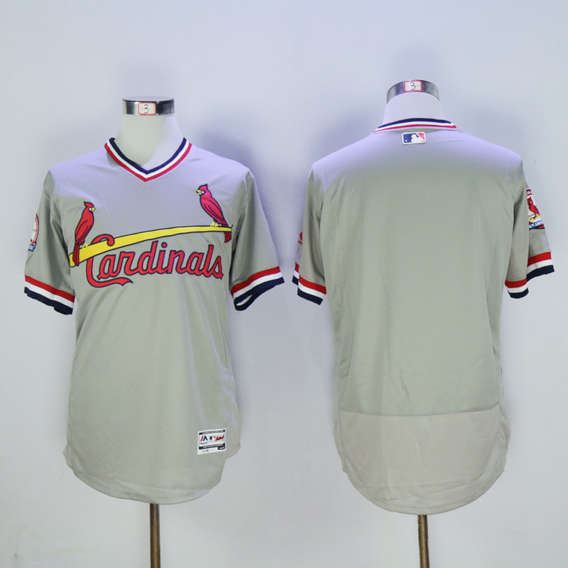 Men St. Louis Cardinals Blank Grey Throwback Elite 1982 MLB Jerseys