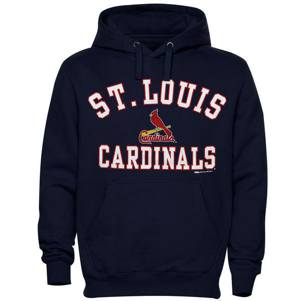 Men St. Louis Cardinals Stitches Fastball Fleece Pullover Hoodie Navy Blue