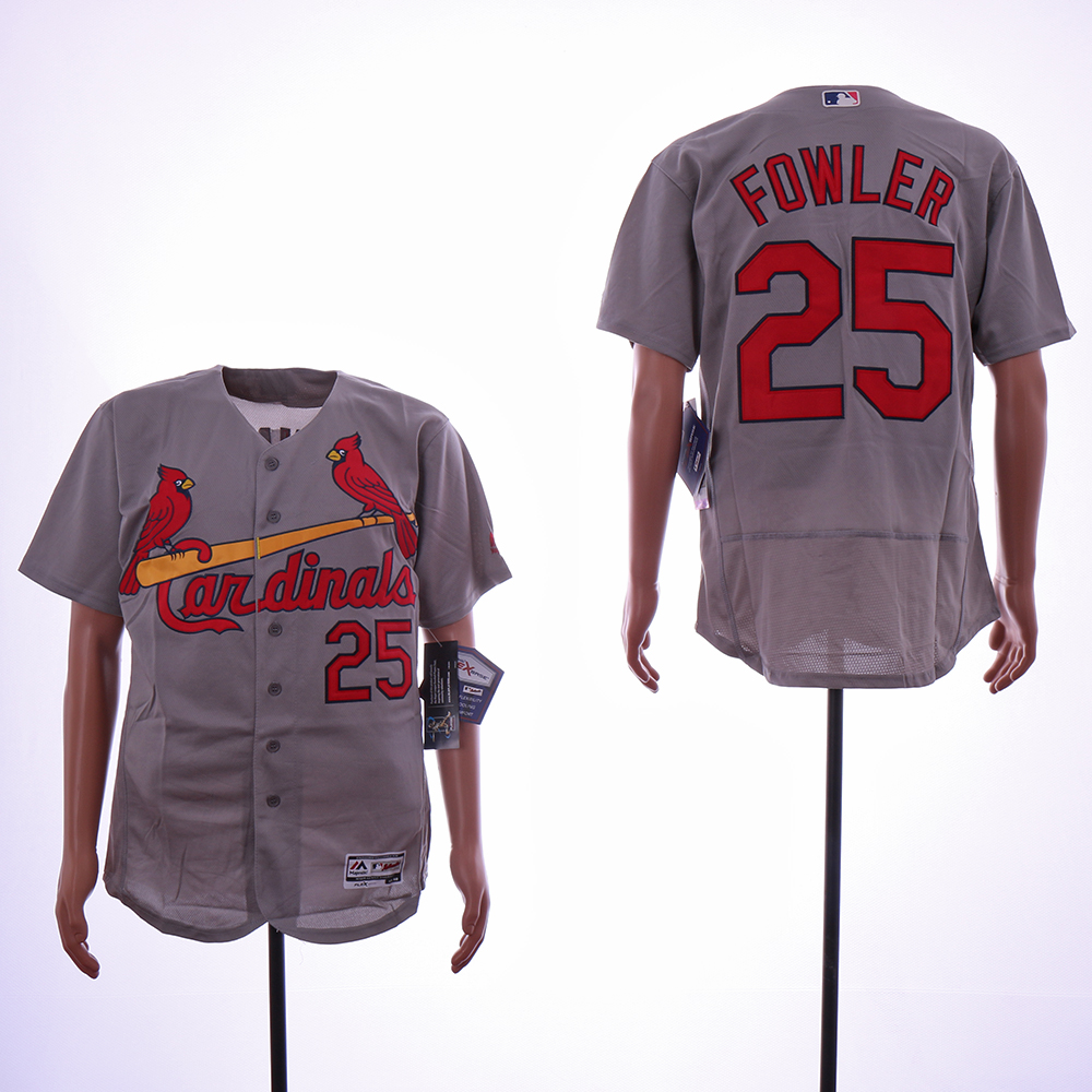 Men St.Louis Cardinals 25 Fowler Grey Elite MLB Jerseys