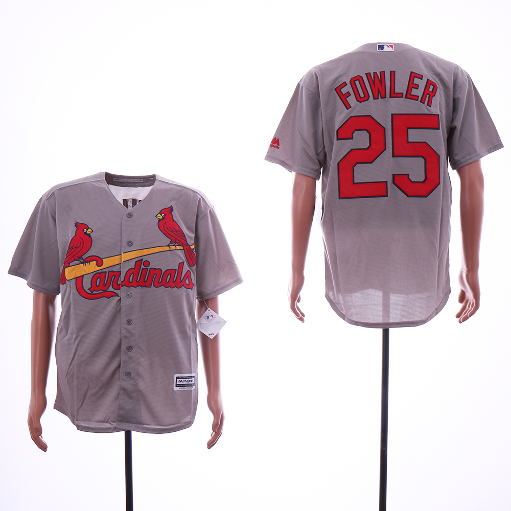 Men St.Louis Cardinals 25 Fowler Grey Game MLB Jerseys