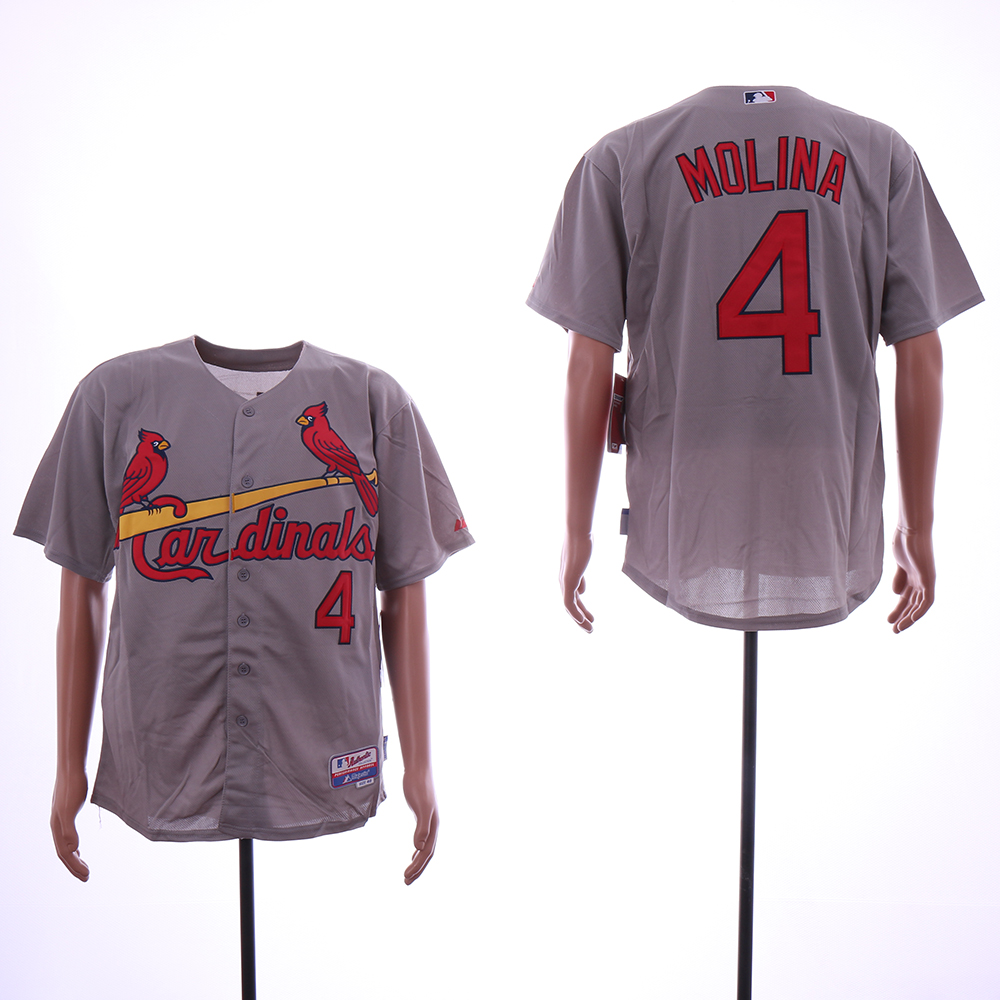 Men St.Louis Cardinals 4 Molina Grey MLB Jerseys