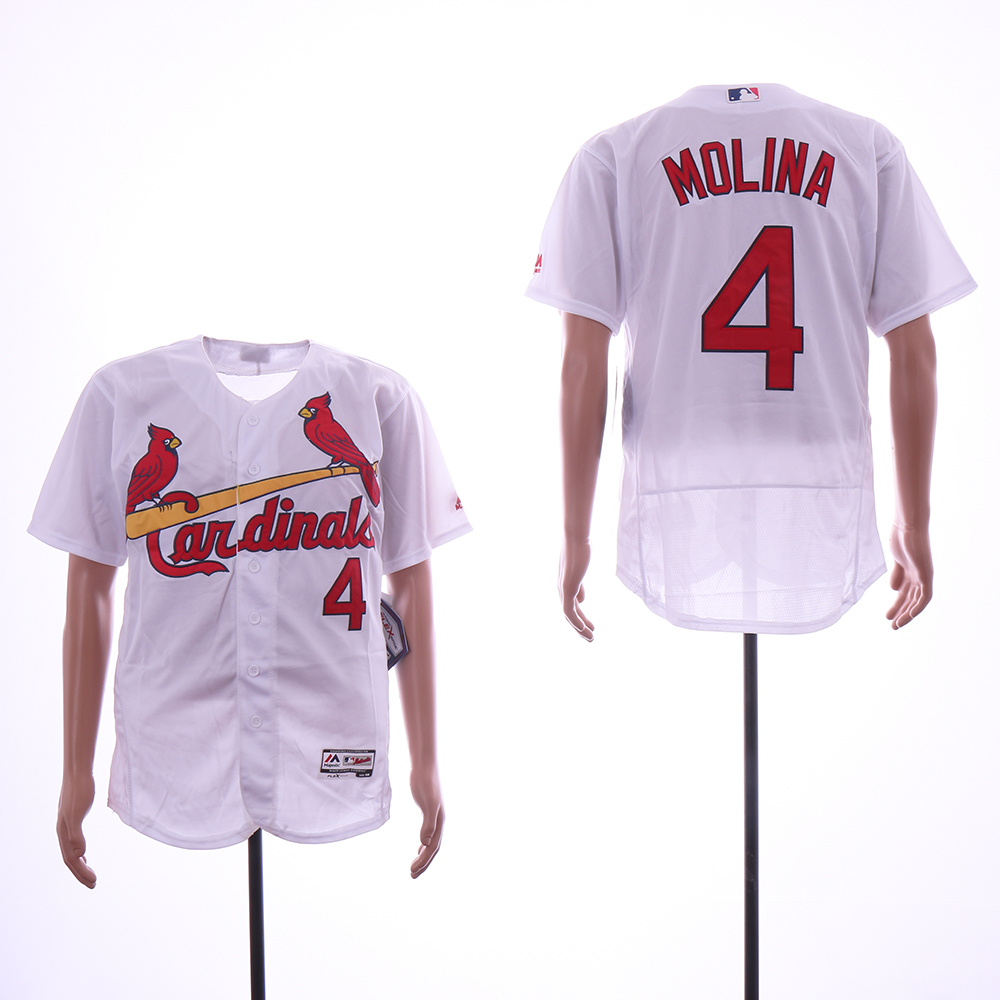 Men St.Louis Cardinals 4 Molina White Elite MLB Jerseys
