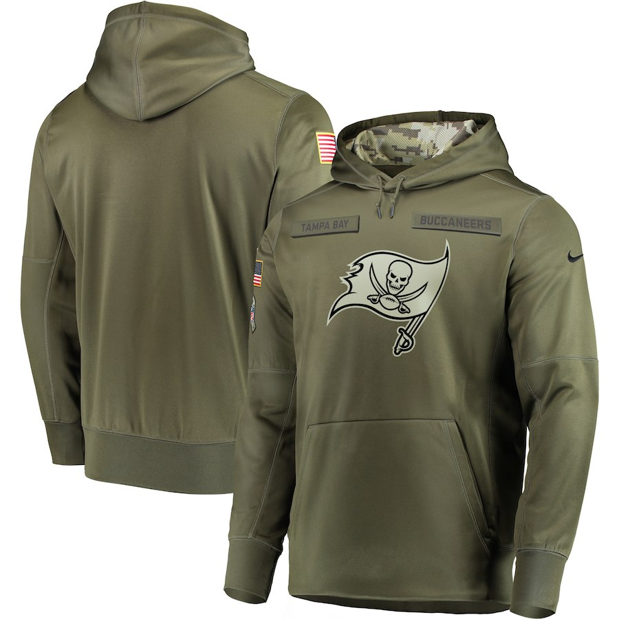 Men Tampa Bay Buccaneers Nike Olive Salute To Service KO Performance Hoodie Green