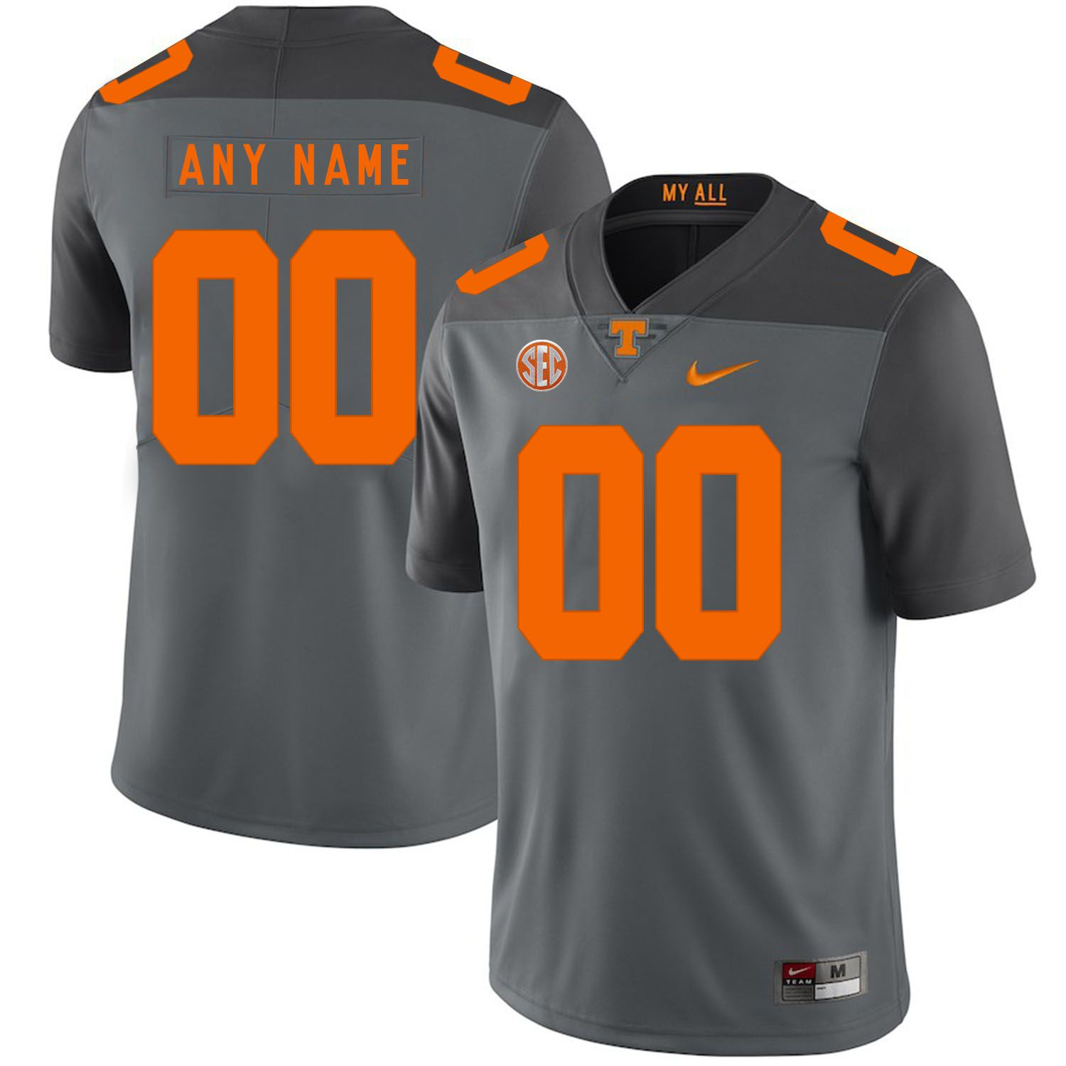 Men Tennessee Volunteers 00 Any name Grey Customized NCAA Jerseys