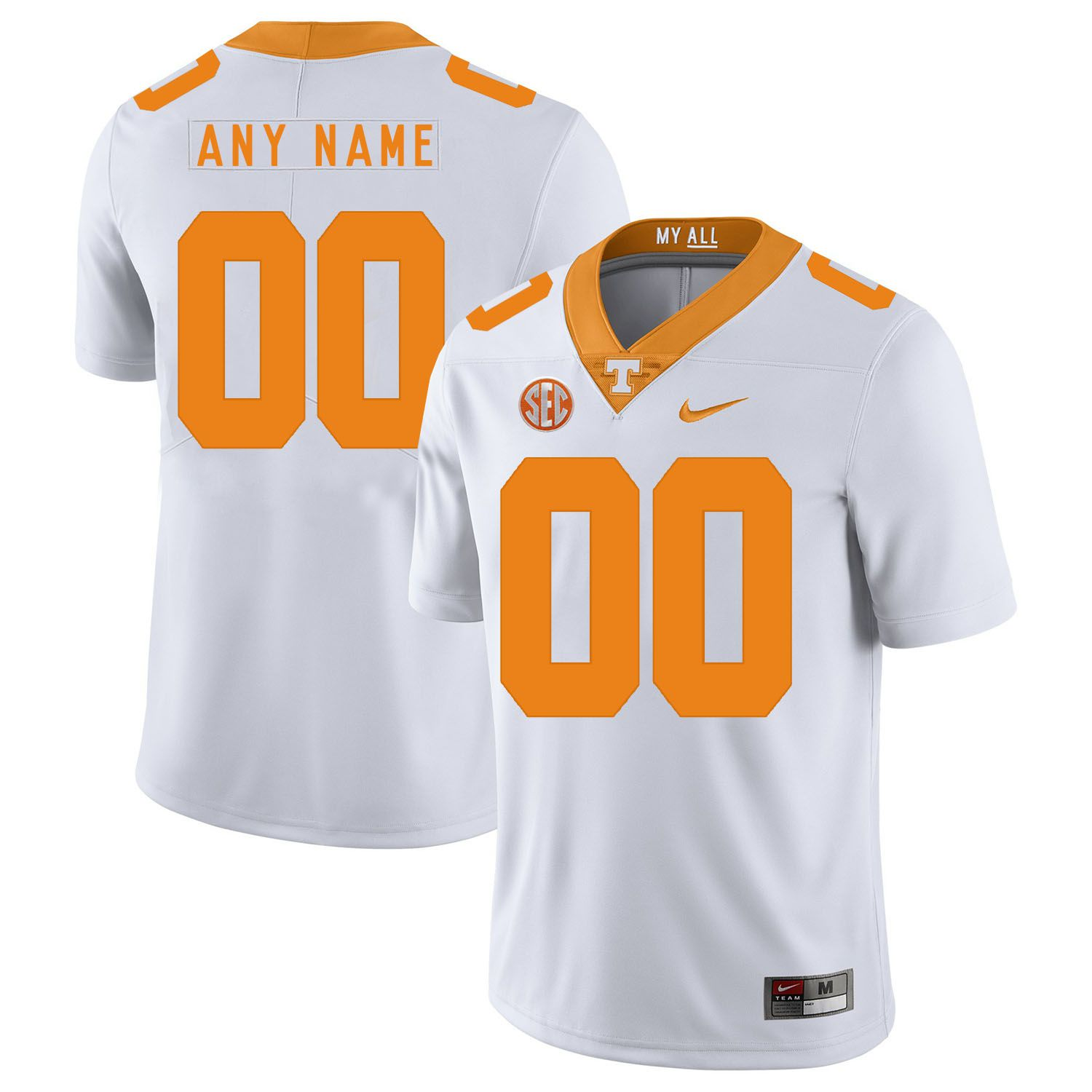 Men Tennessee Volunteers 00 Any name White Customized NCAA Jerseys