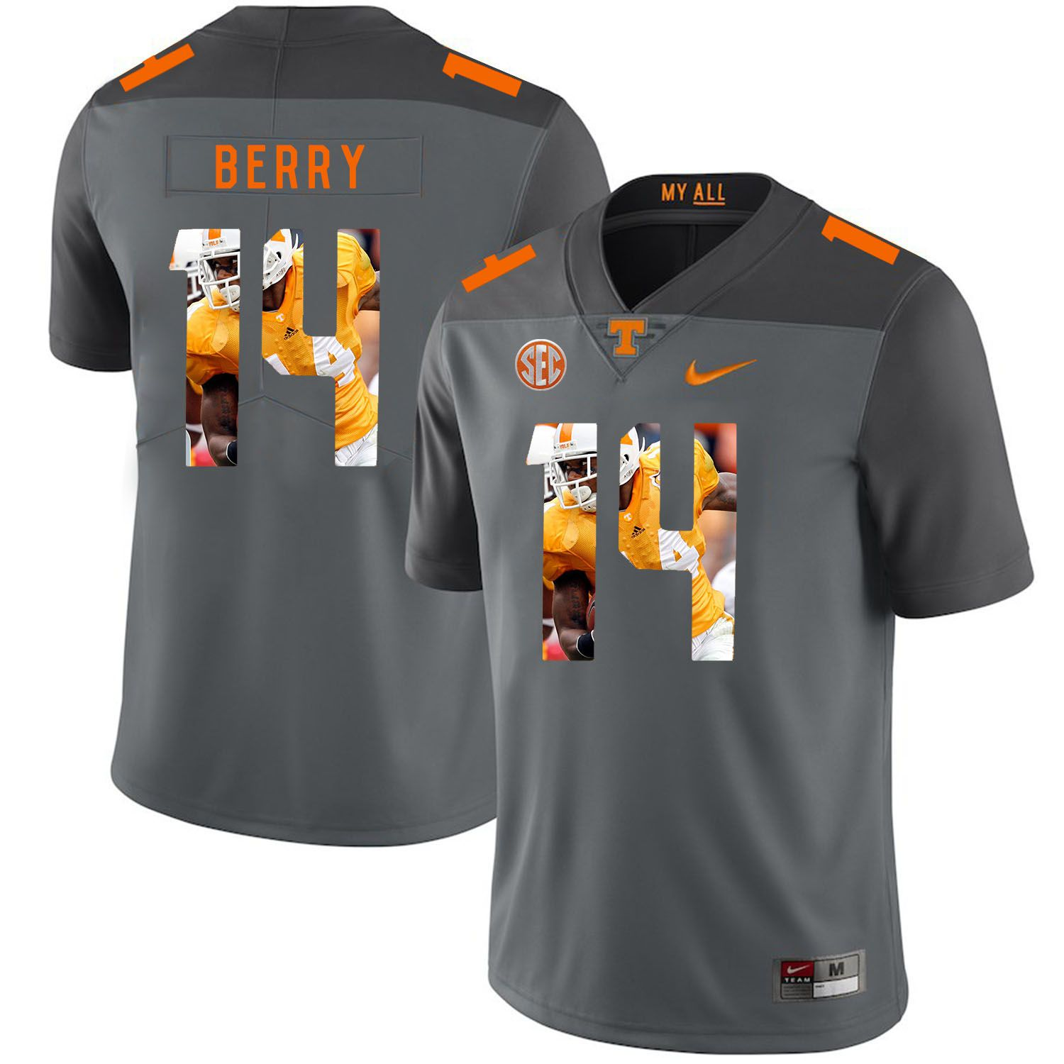 Men Tennessee Volunteers 14 Berry Grey Fashion Edition Customized NCAA Jerseys