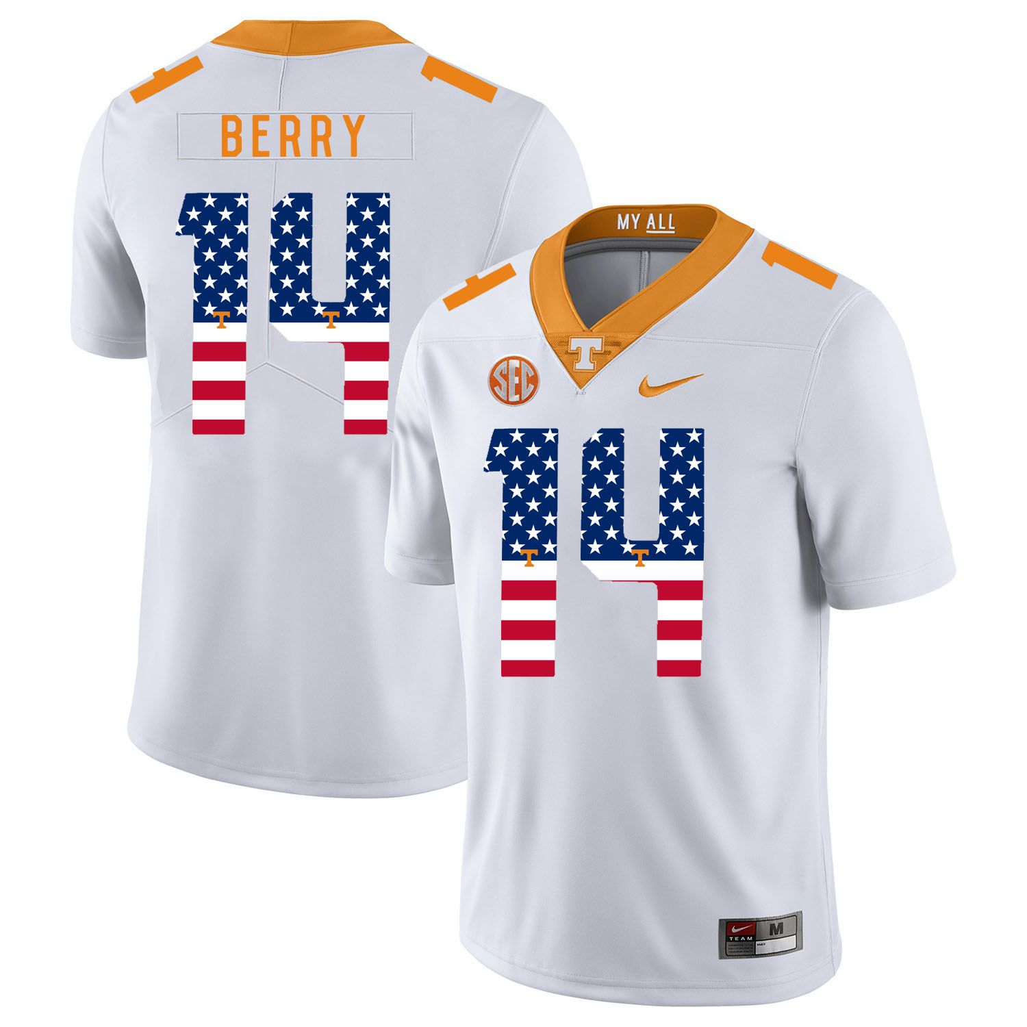 Men Tennessee Volunteers 14 Berry White Flag Customized NCAA Jerseys