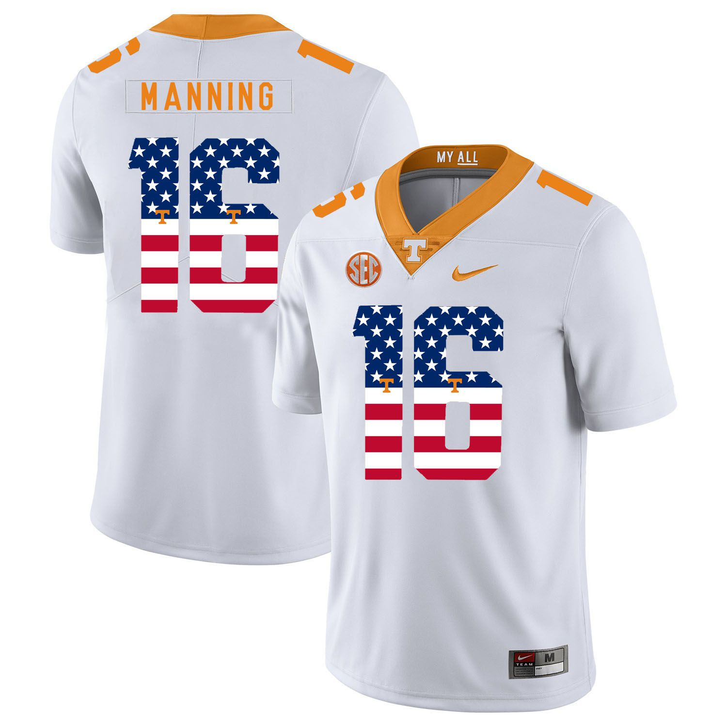 Men Tennessee Volunteers 16 Manning White Flag Customized NCAA Jerseys