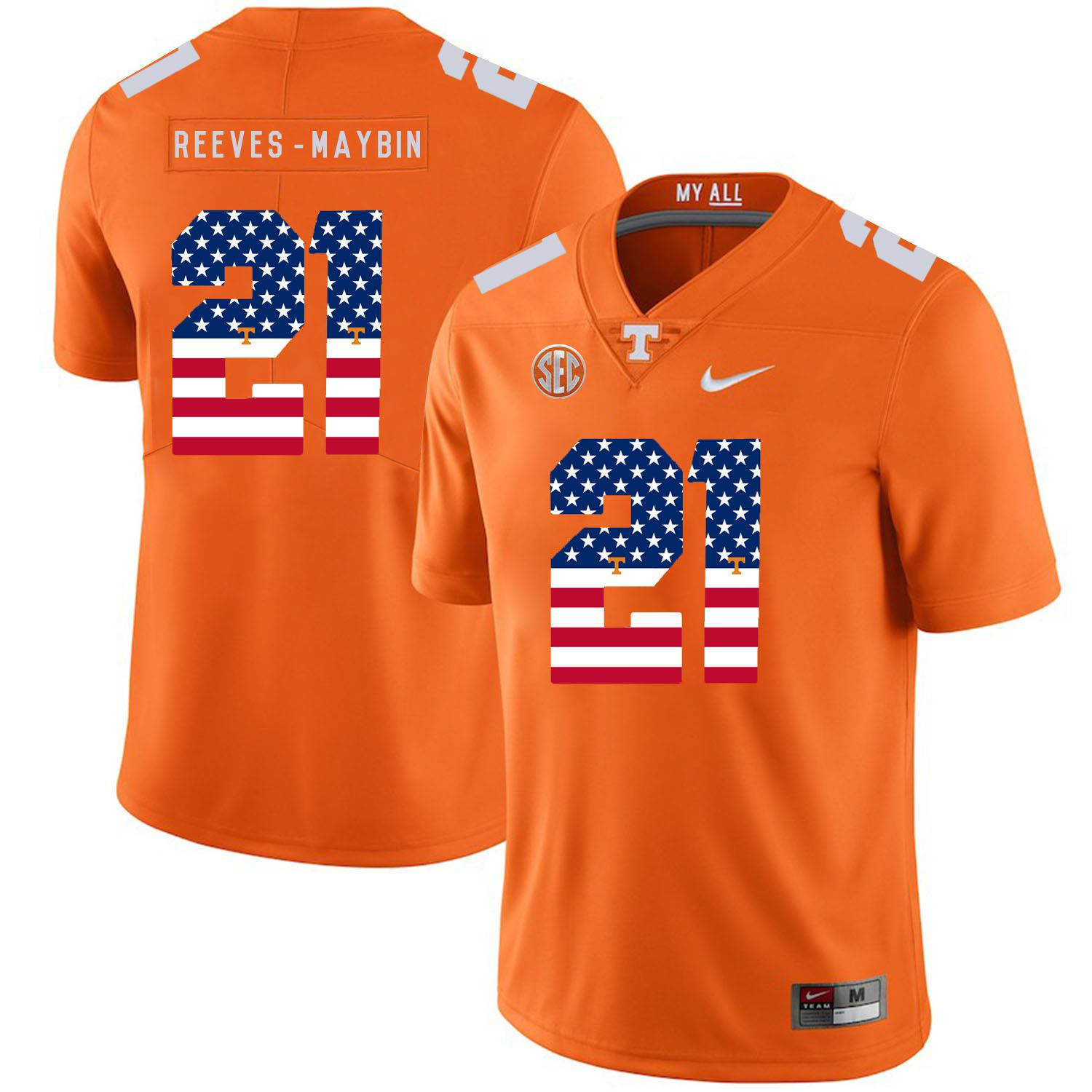 Men Tennessee Volunteers 21 Reeves-maybin Orange Flag Customized NCAA Jerseys