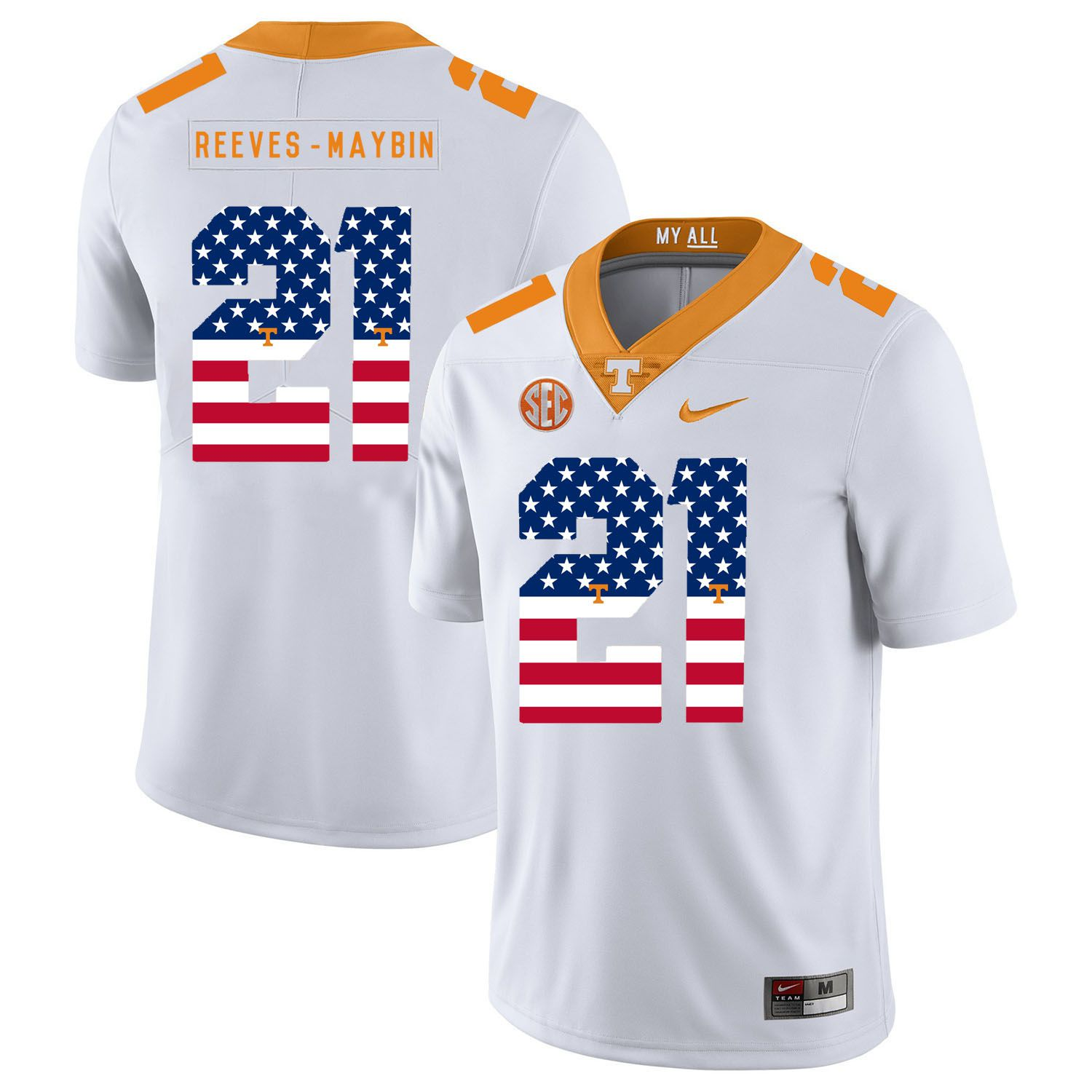 feab73c950e Men Tennessee Volunteers 21 Reeves-maybin White Flag Customized NCAA Jerseys