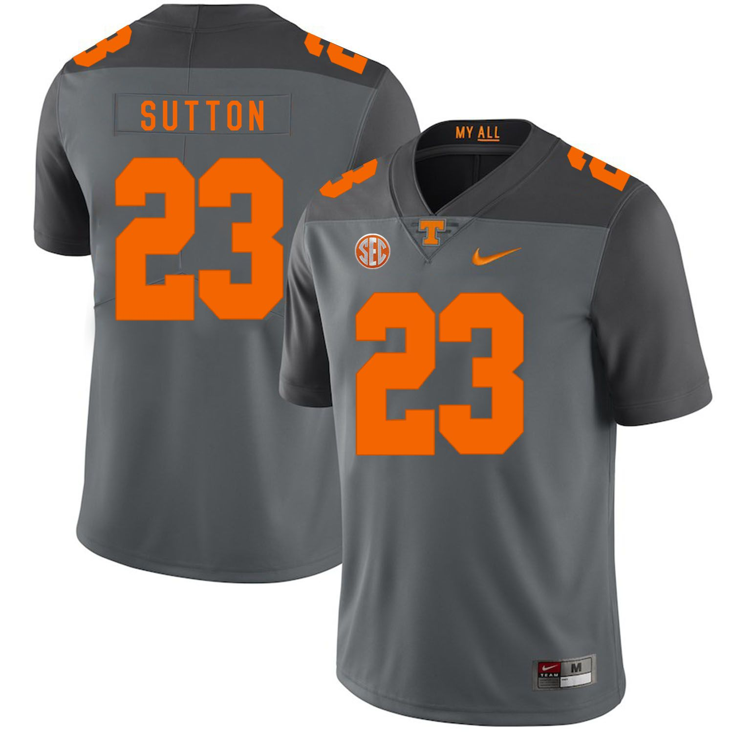 Men Tennessee Volunteers 23 Sutton Grey Customized NCAA Jerseys