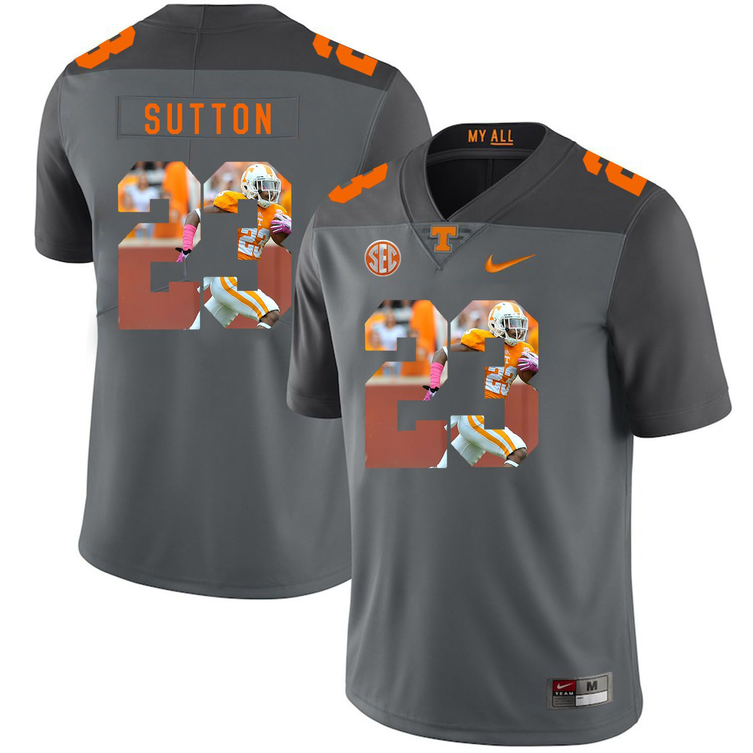 Men Tennessee Volunteers 23 Sutton Grey Fashion Edition Customized NCAA Jerseys