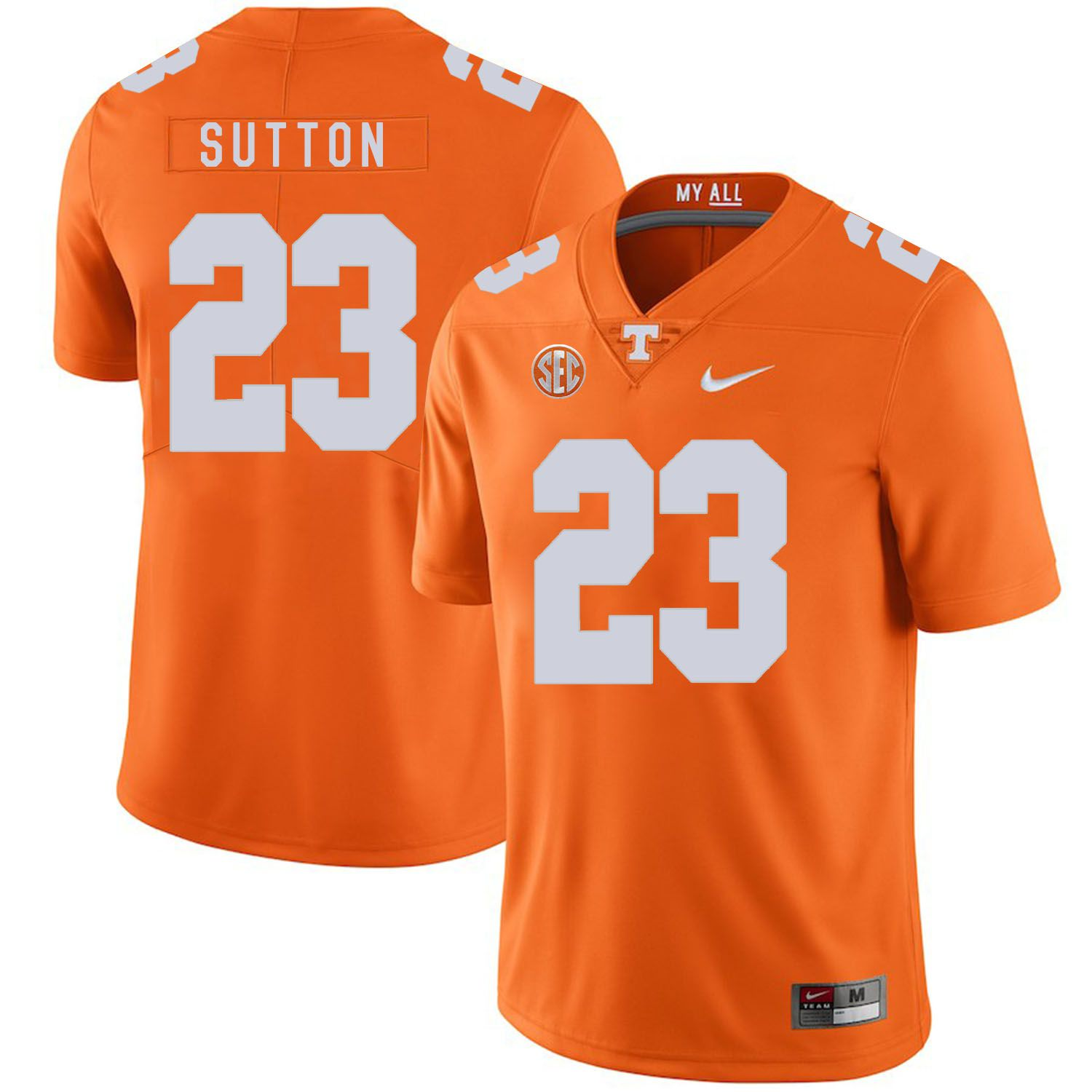 Men Tennessee Volunteers 23 Sutton Orange Customized NCAA Jerseys
