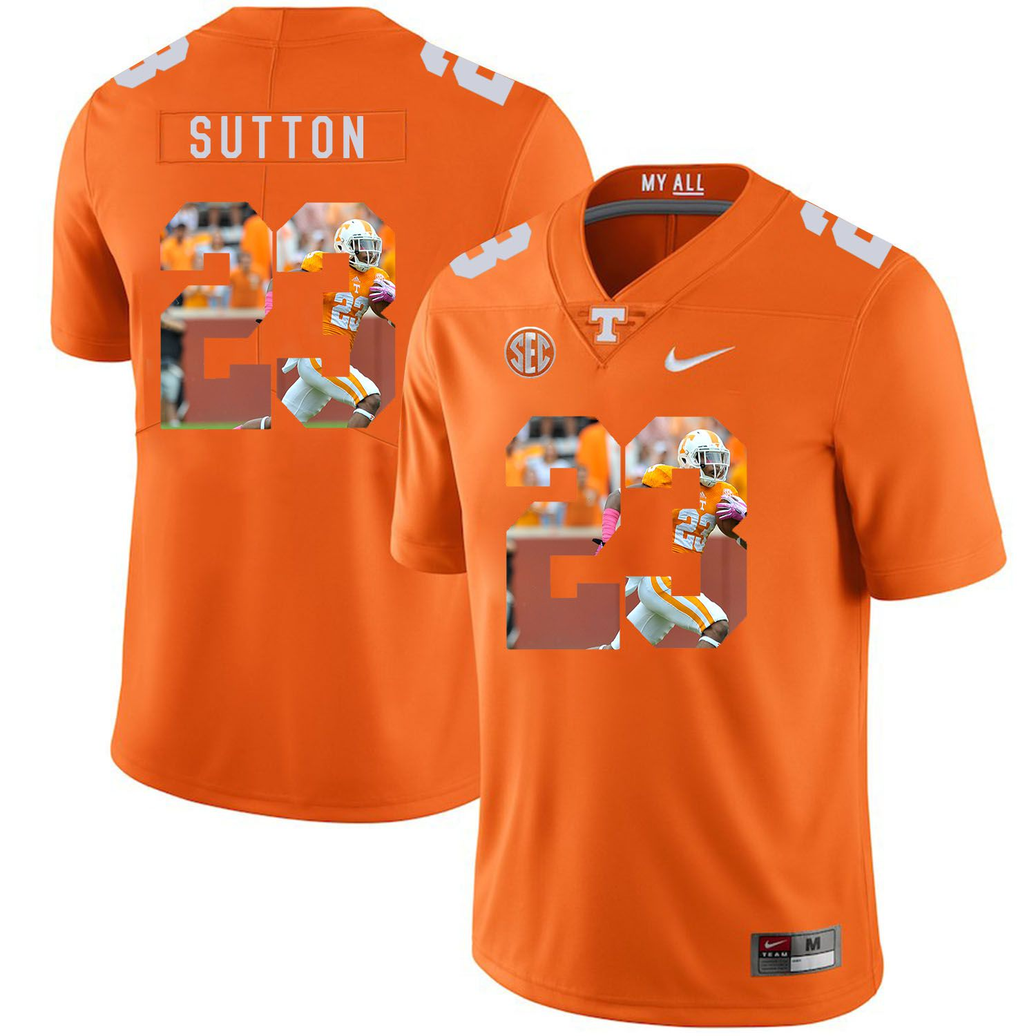 Men Tennessee Volunteers 23 Sutton Orange Fashion Edition Customized NCAA Jerseys