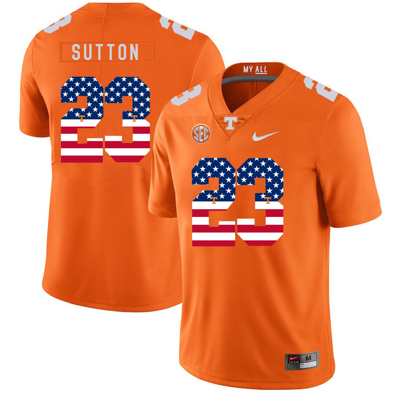 Men Tennessee Volunteers 23 Sutton Orange Flag Customized NCAA Jerseys
