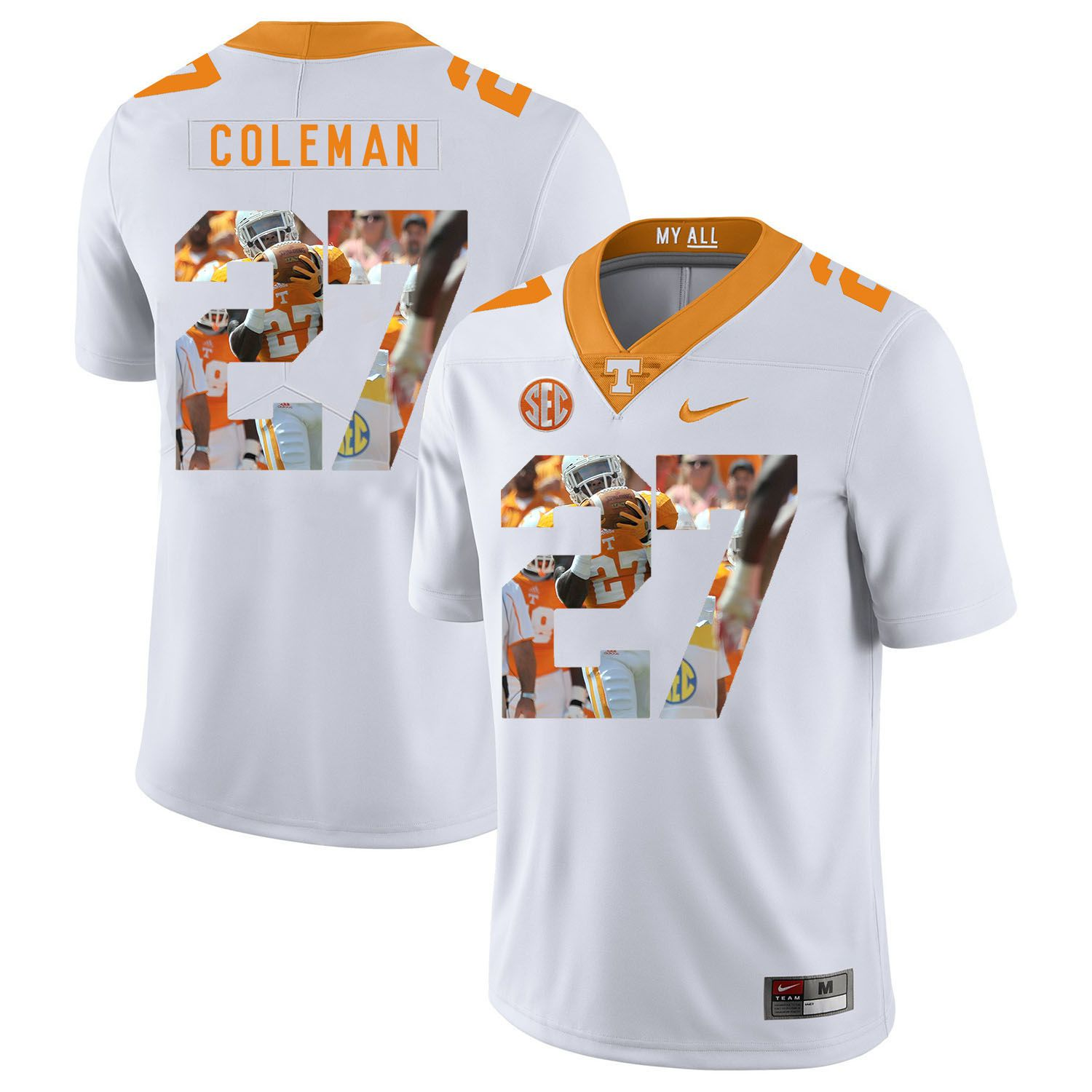 Men Tennessee Volunteers 27 Coleman White Fashion Edition Customized NCAA Jerseys