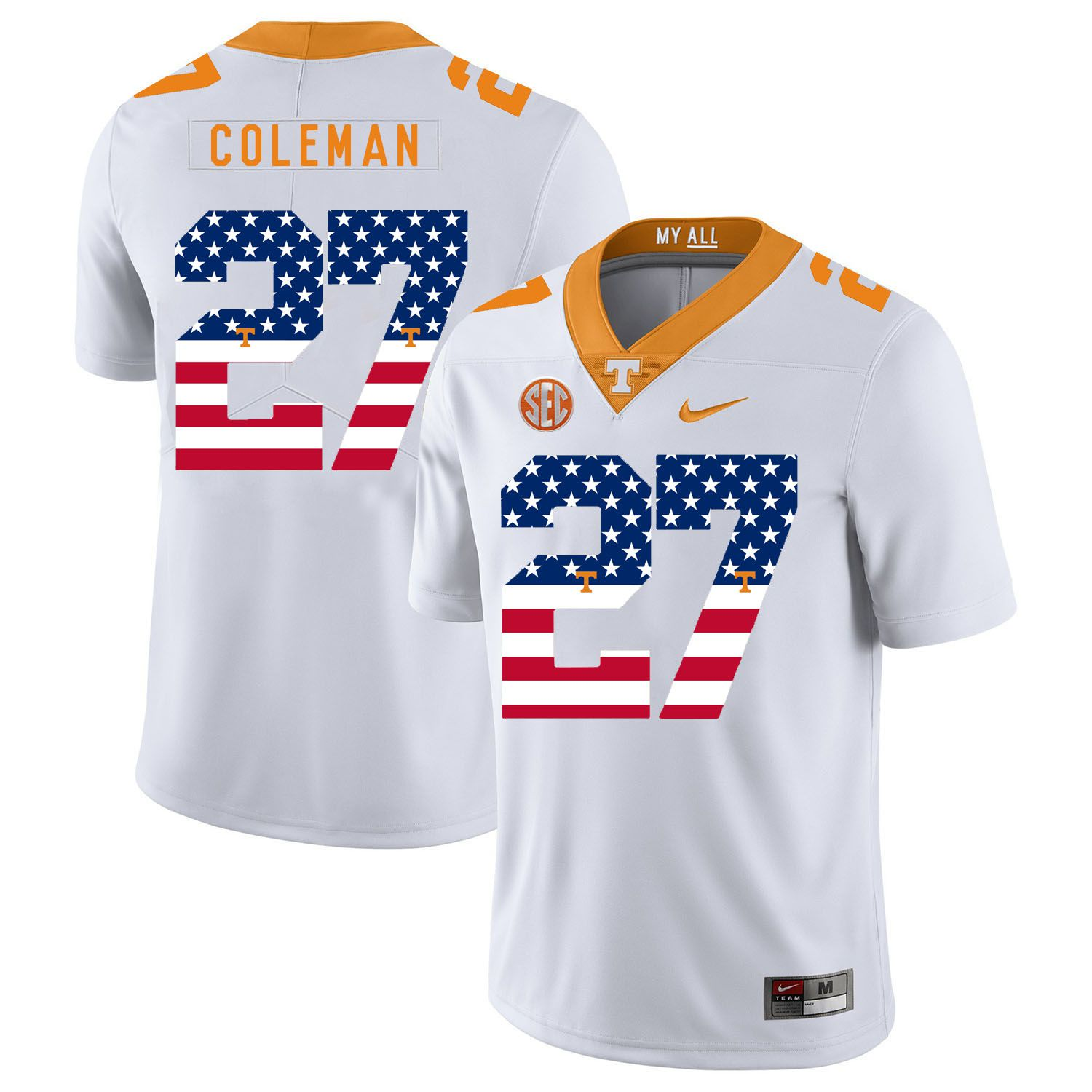 Men Tennessee Volunteers 27 Coleman White Flag Customized NCAA Jerseys