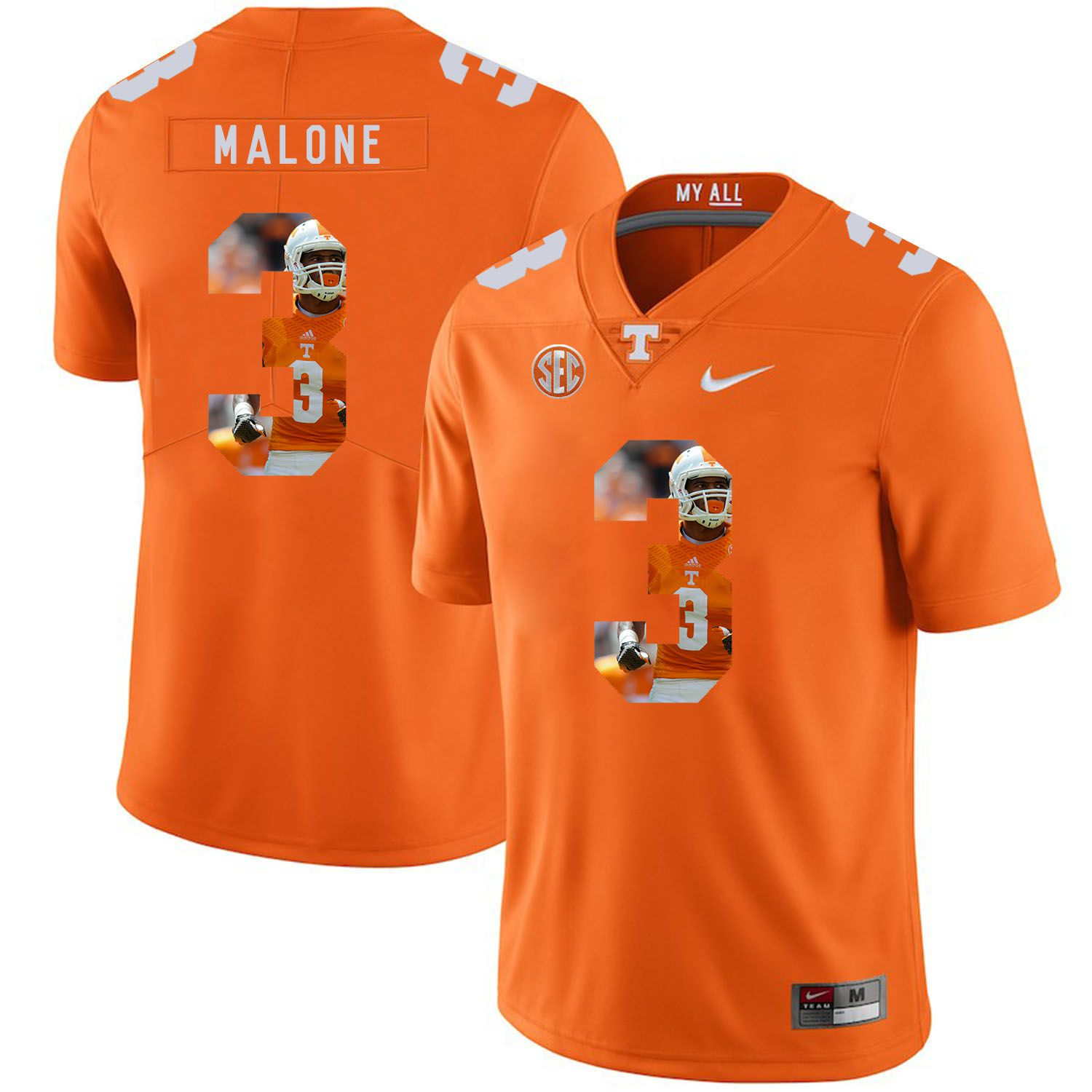Men Tennessee Volunteers 3 Malone Orange Fashion Edition Customized NCAA Jerseys