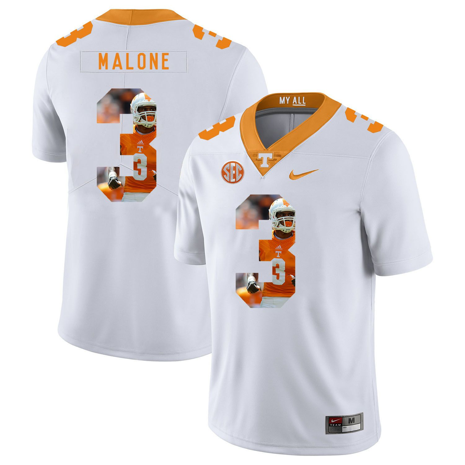 Men Tennessee Volunteers 3 Malone White Fashion Edition Customized NCAA Jerseys