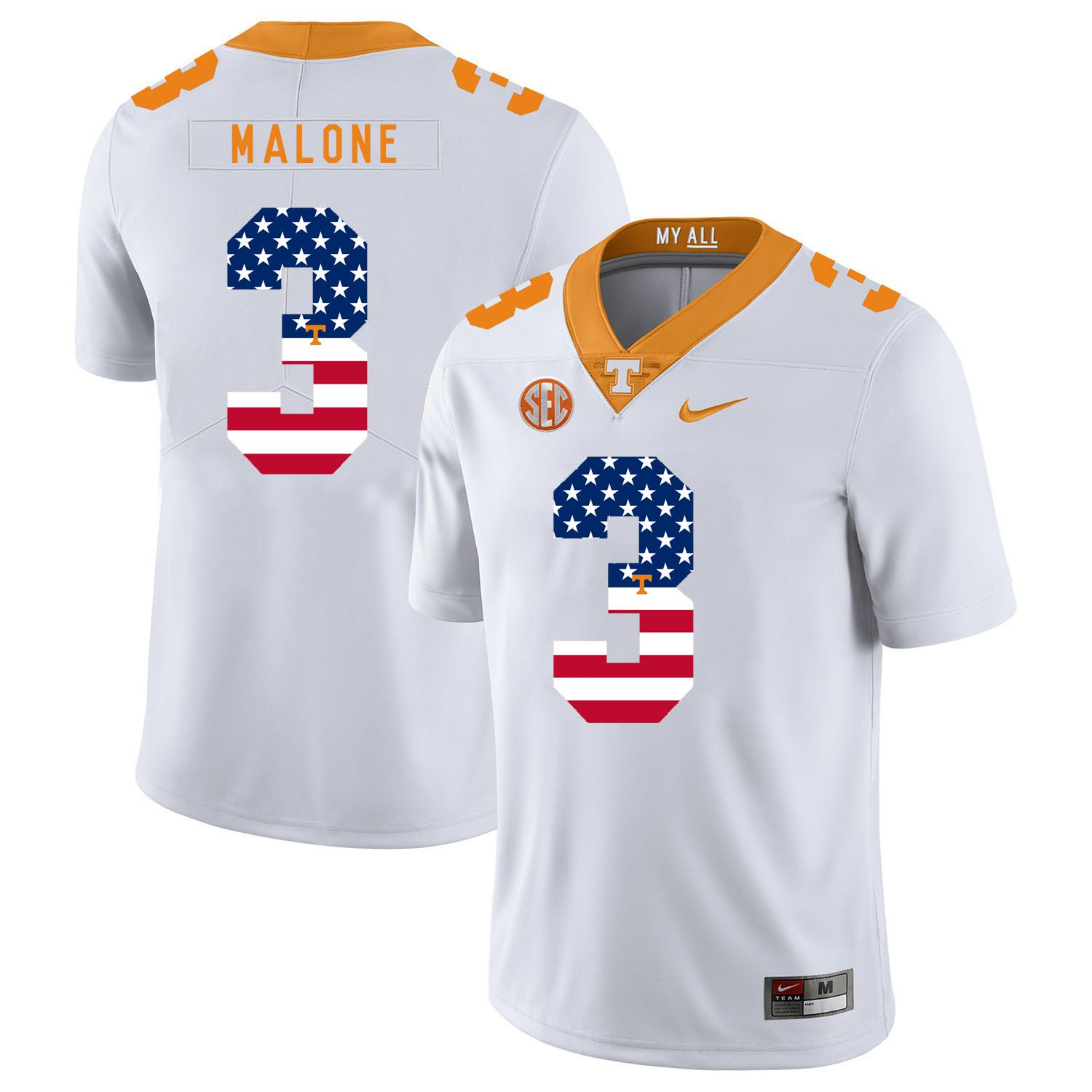 Men Tennessee Volunteers 3 Malone White Flag Customized NCAA Jerseys