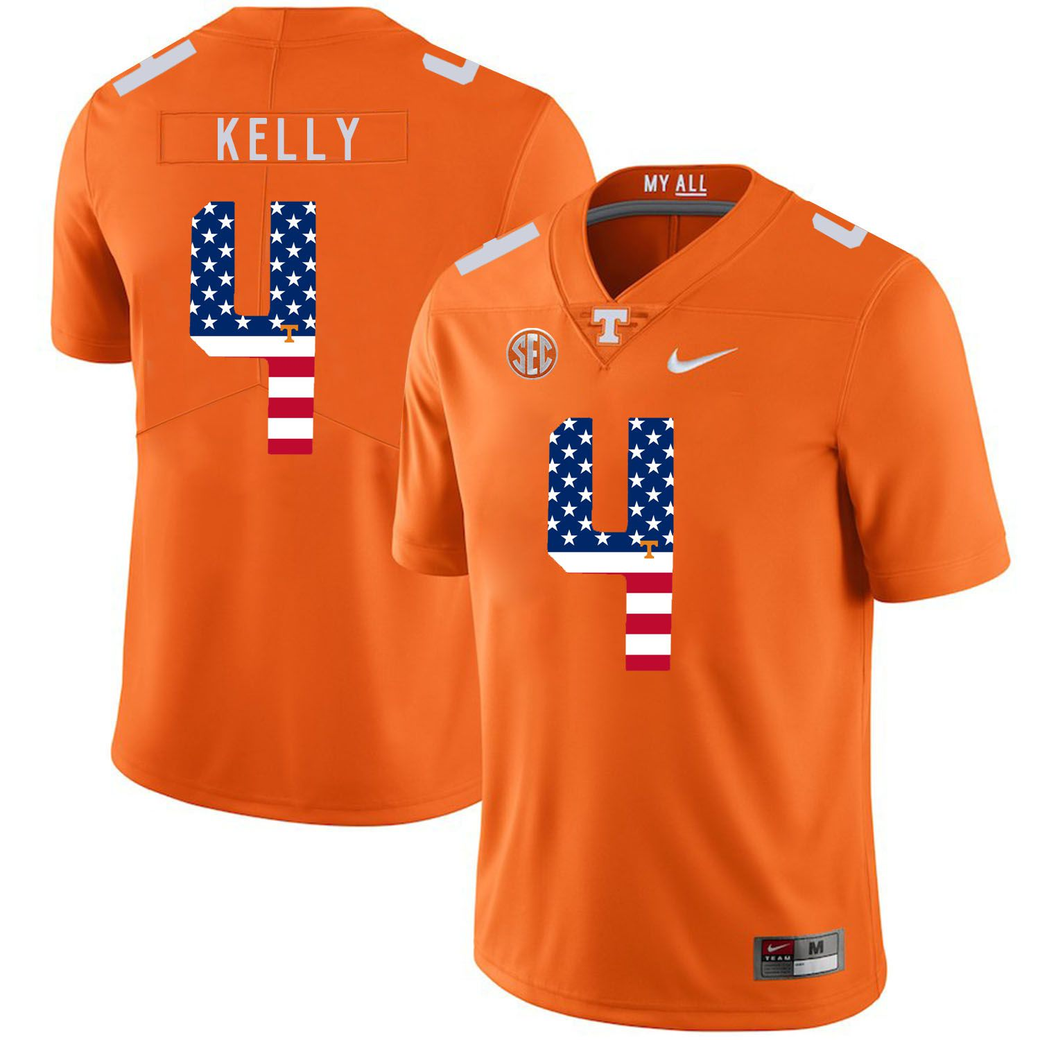 Men Tennessee Volunteers 4 Kelly Orange Flag Customized NCAA Jerseys