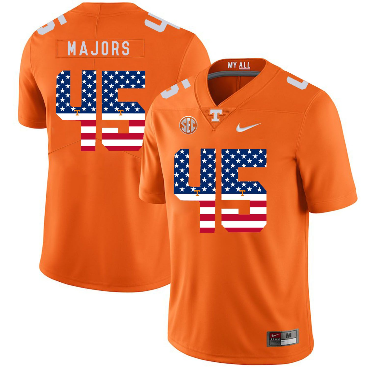 Men Tennessee Volunteers 45 Majors Orange Flag Customized NCAA Jerseys