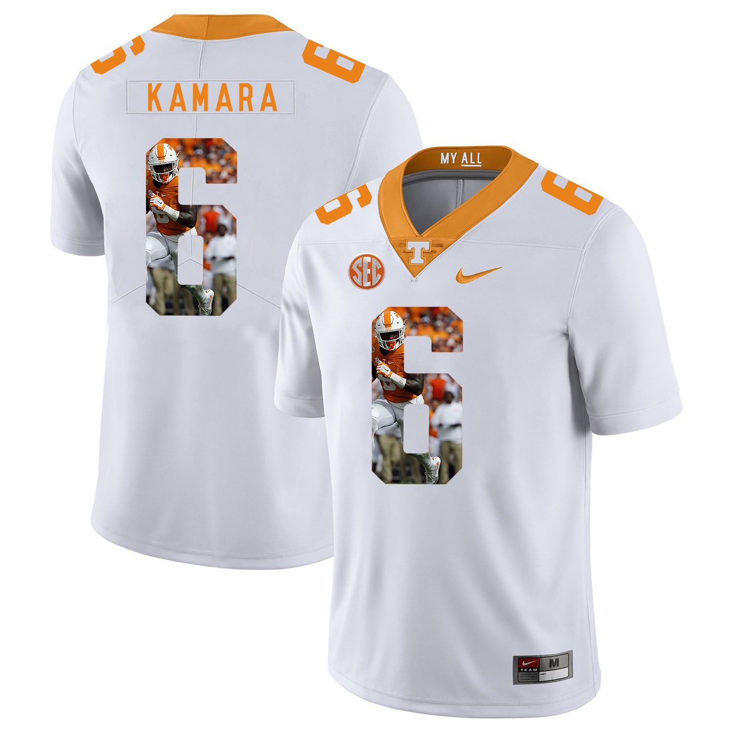 Men Tennessee Volunteers 6 Kamara White Fashion Edition Customized NCAA Jerseys