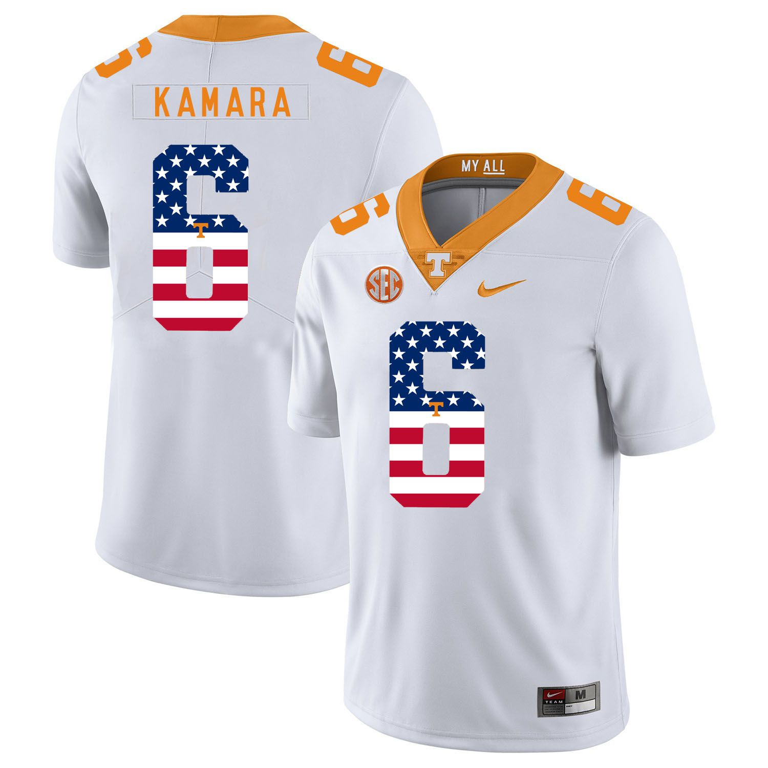 Men Tennessee Volunteers 6 Kamara White Flag Customized NCAA Jerseys
