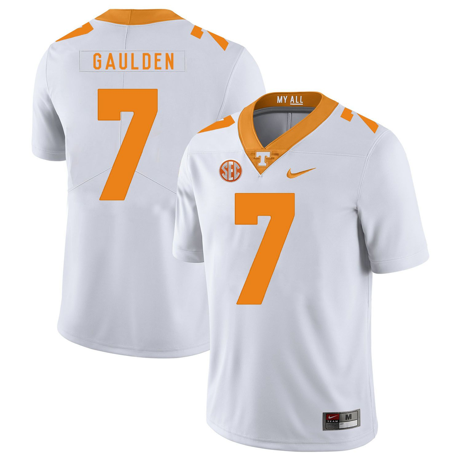 Men Tennessee Volunteers 7 Gaulden White Customized NCAA Jerseys