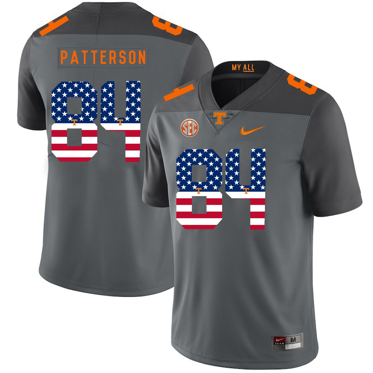 Men Tennessee Volunteers 84 Patterson Grey Flag Customized NCAA Jerseys