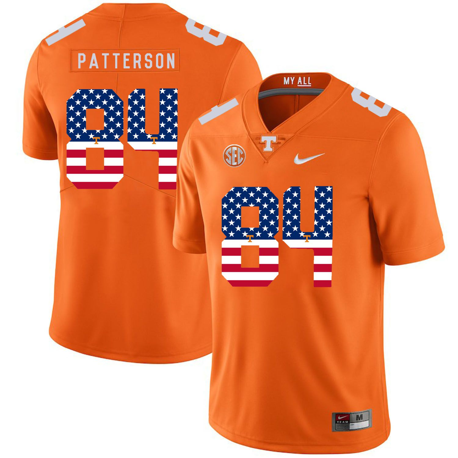 Men Tennessee Volunteers 84 Patterson Orange Flag Customized NCAA Jerseys