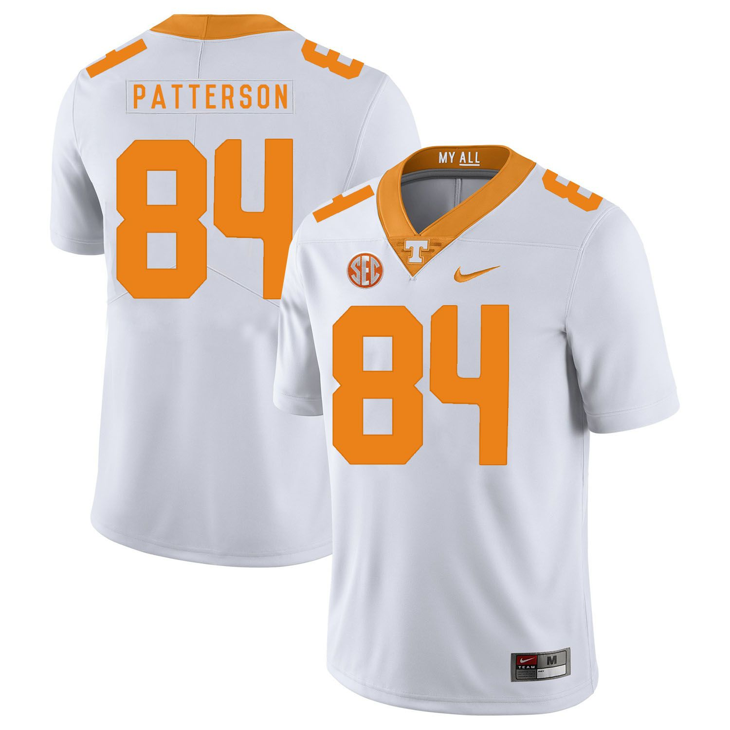 Men Tennessee Volunteers 84 Patterson White Customized NCAA Jerseys