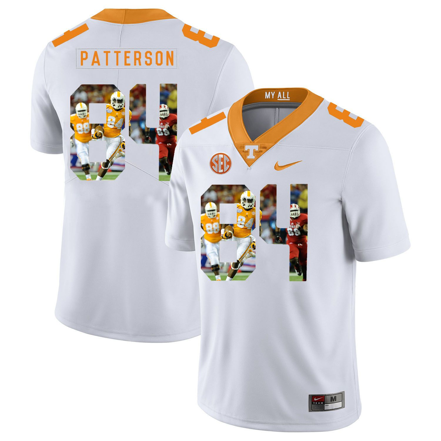 Men Tennessee Volunteers 84 Patterson White Fashion Edition Customized NCAA Jerseys