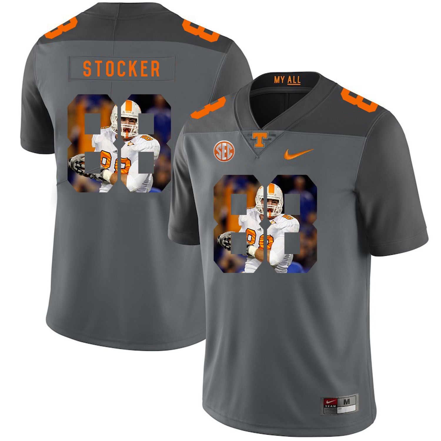 Men Tennessee Volunteers 88 Stocker Grey Fashion Edition Customized NCAA Jerseys