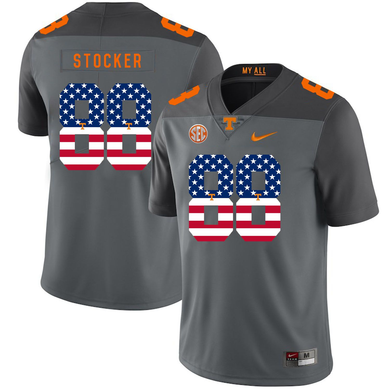 Men Tennessee Volunteers 88 Stocker Grey Flag Customized NCAA Jerseys