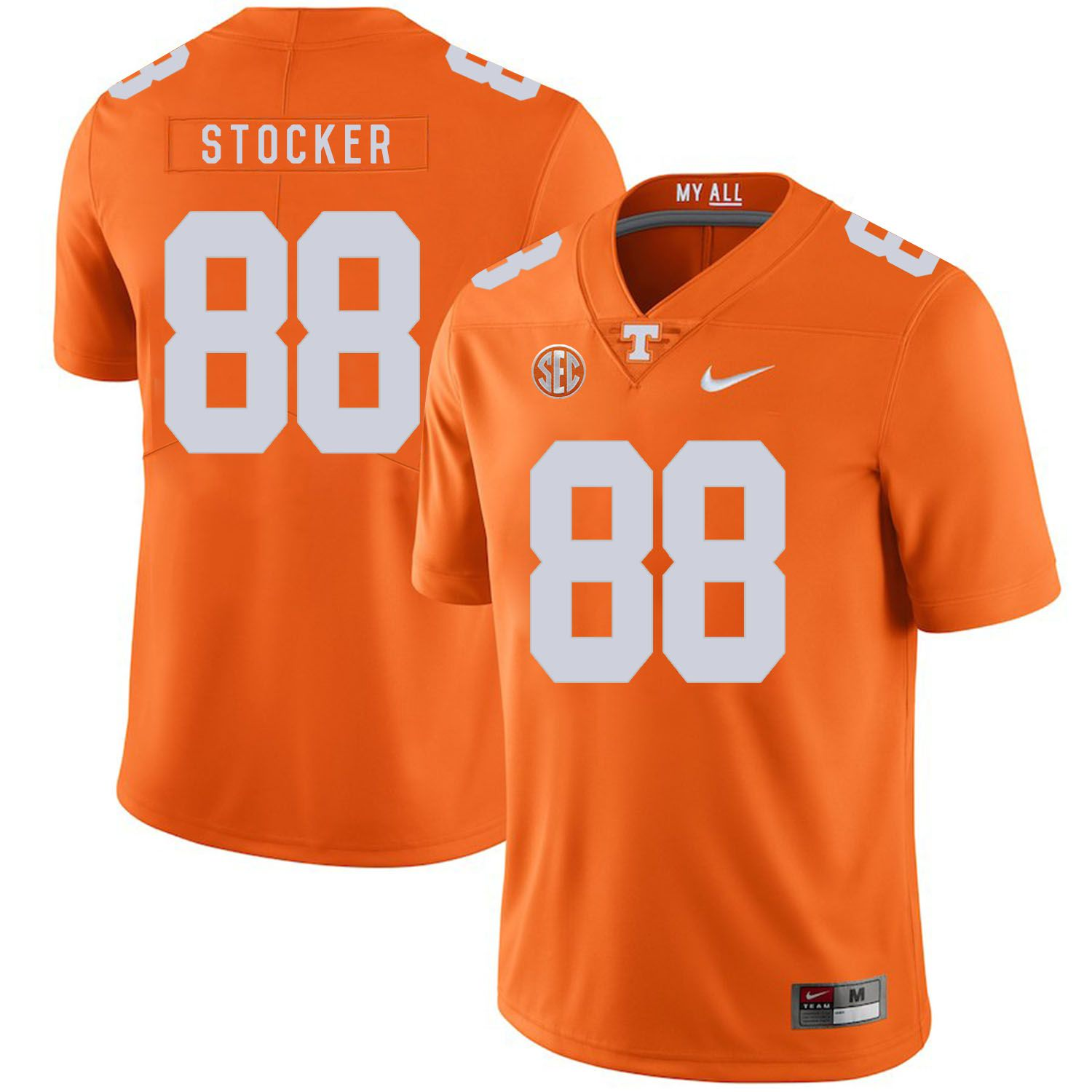Men Tennessee Volunteers 88 Stocker Orange Customized NCAA Jerseys