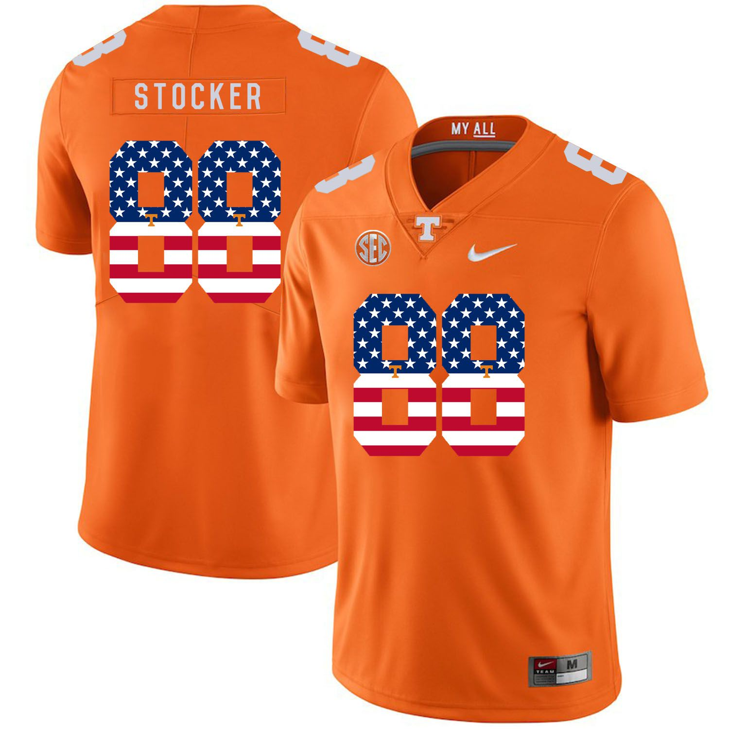 Men Tennessee Volunteers 88 Stocker Orange Flag Customized NCAA Jerseys