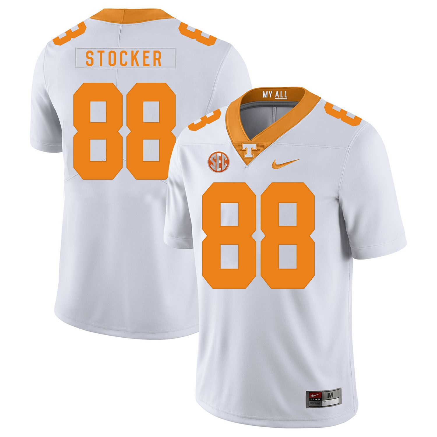Men Tennessee Volunteers 88 Stocker White Customized NCAA Jerseys