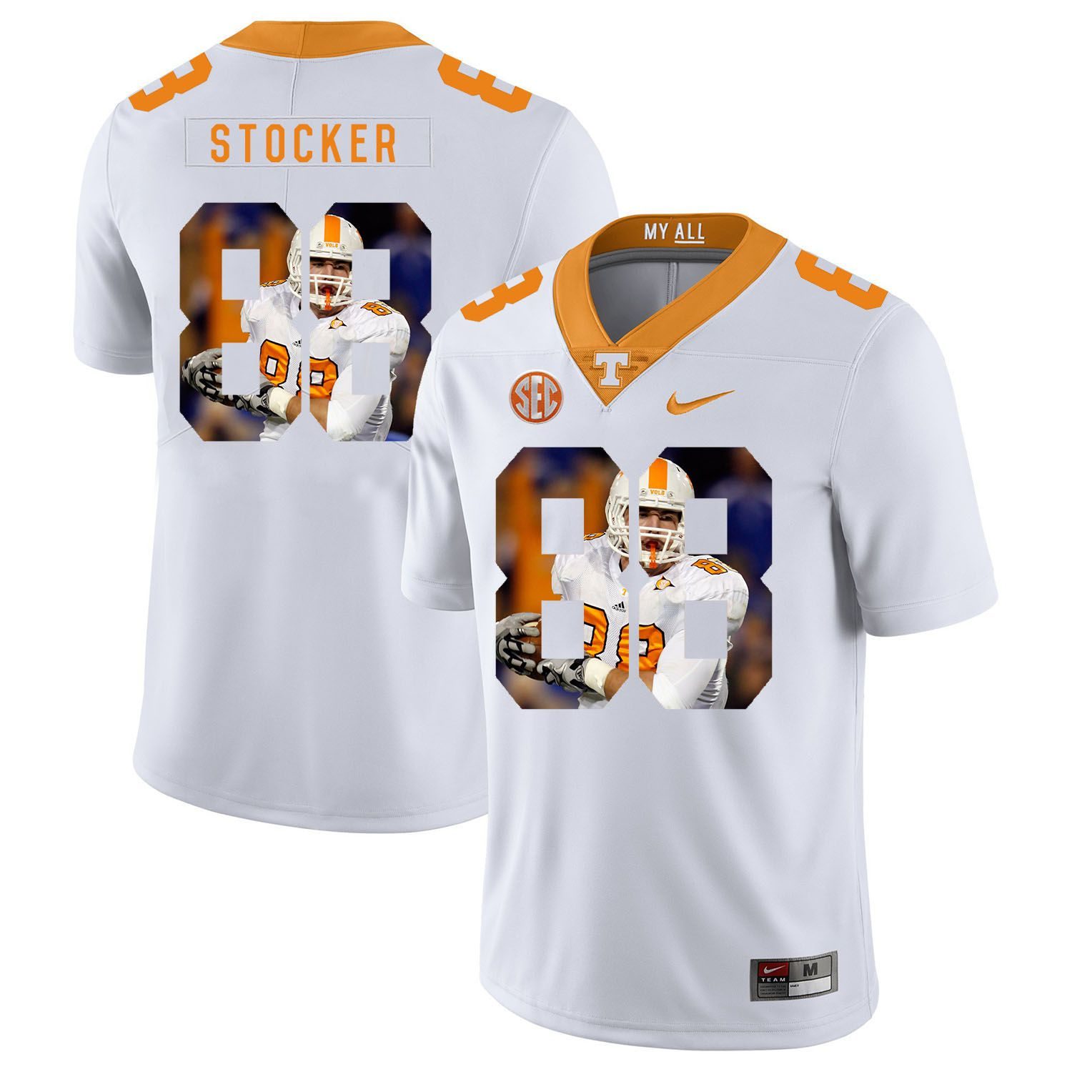 Men Tennessee Volunteers 88 Stocker White Fashion Edition Customized NCAA Jerseys
