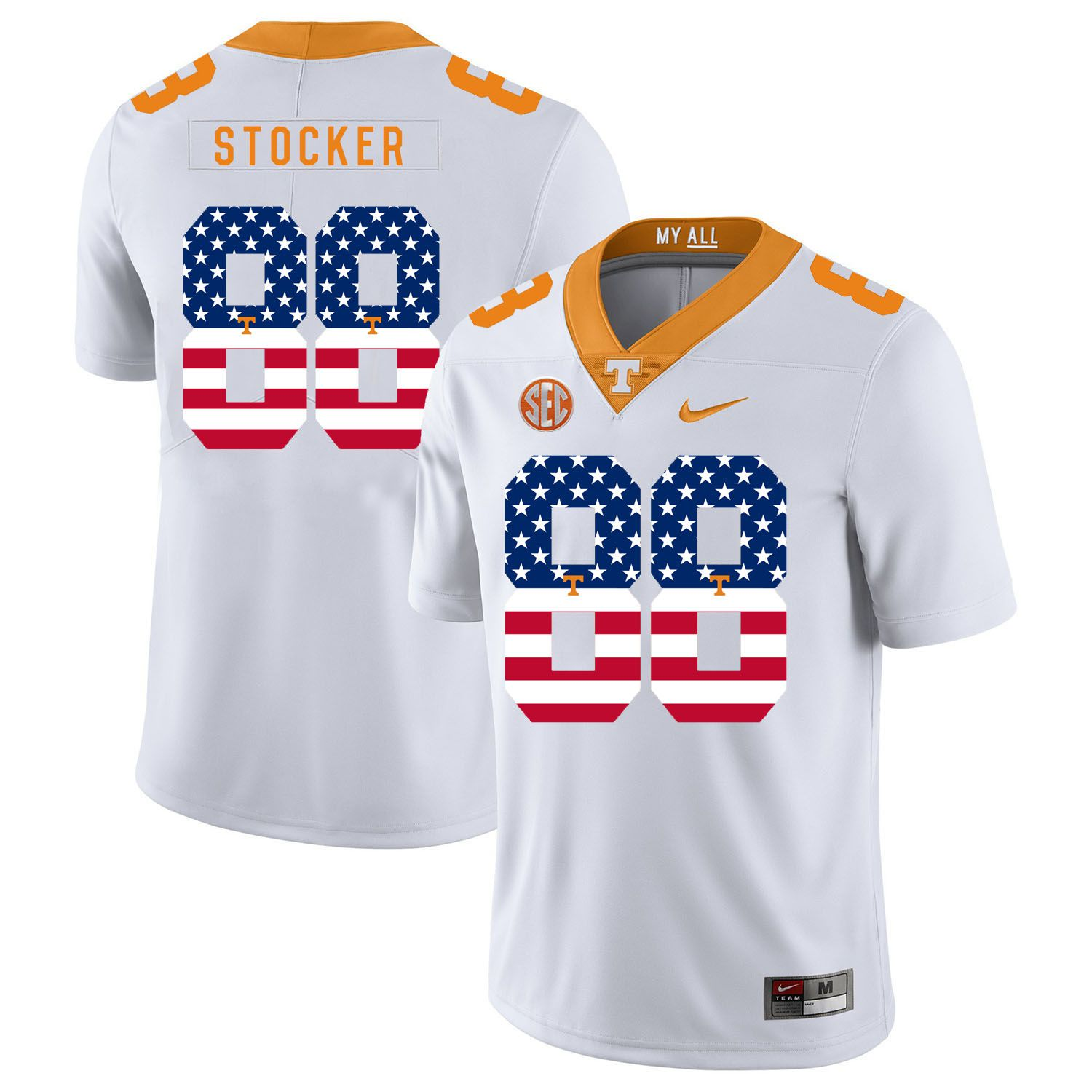 Men Tennessee Volunteers 88 Stocker White Flag Customized NCAA Jerseys