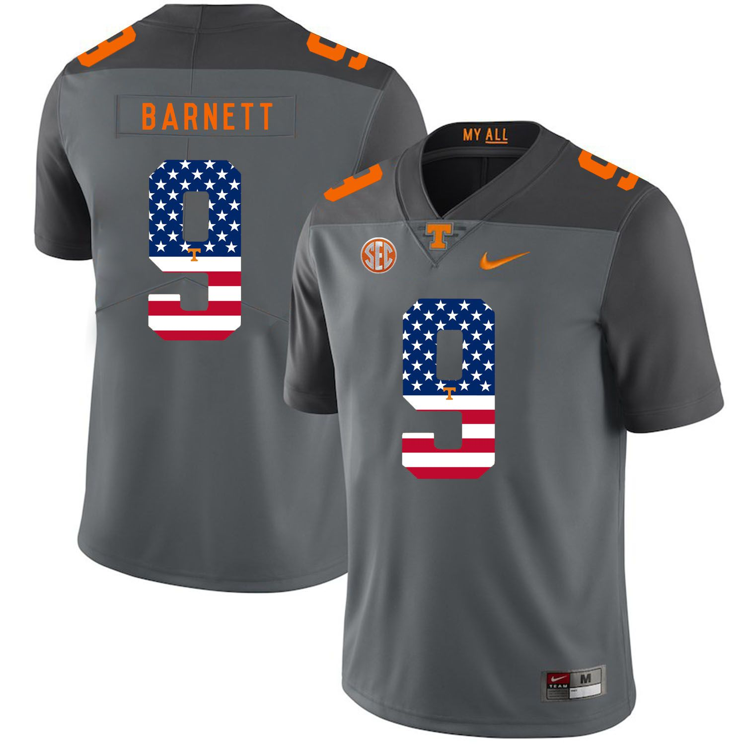 Men Tennessee Volunteers 9 Barnett Grey Flag Customized NCAA Jerseys