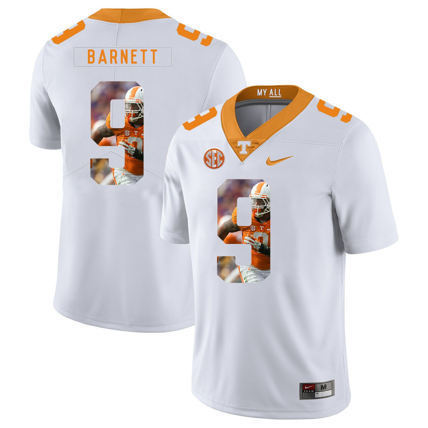 Men Tennessee Volunteers 9 Barnett White Fashion Edition Customized NCAA Jerseys